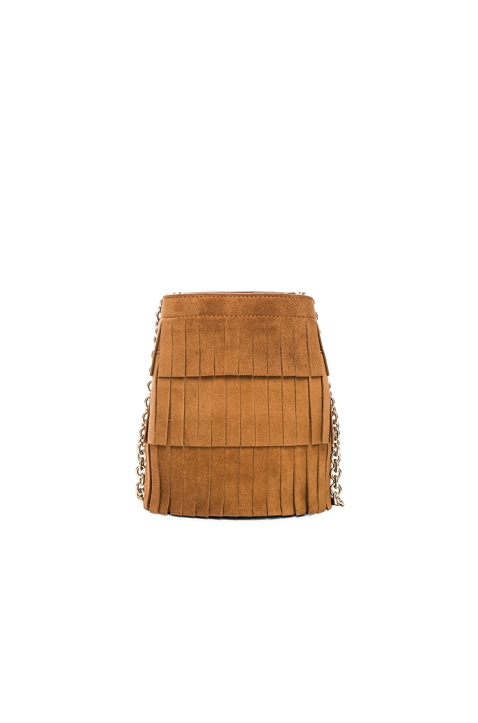 Image 2 of Burberry London Festive Fringed Suede Bucket Bag in Amber