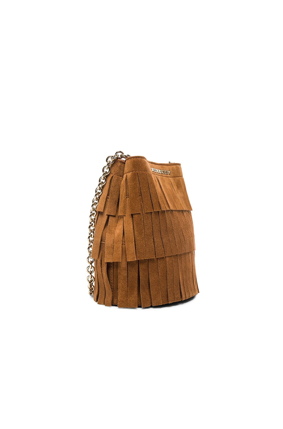 Image 3 of Burberry London Festive Fringed Suede Bucket Bag in Amber
