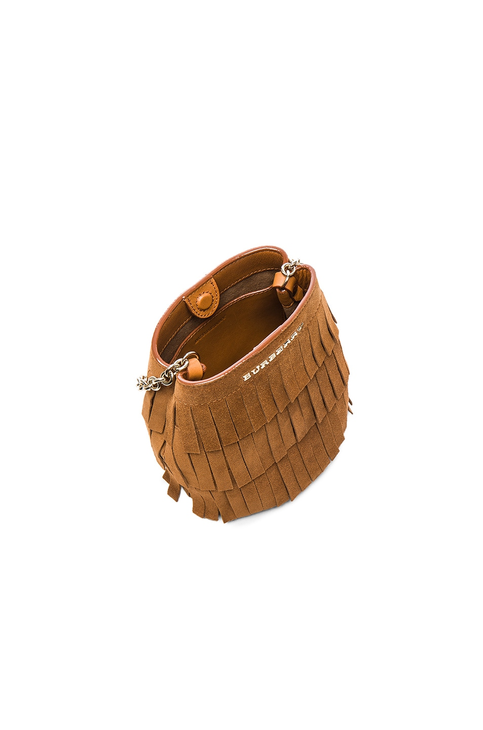 Image 4 of Burberry London Festive Fringed Suede Bucket Bag in Amber
