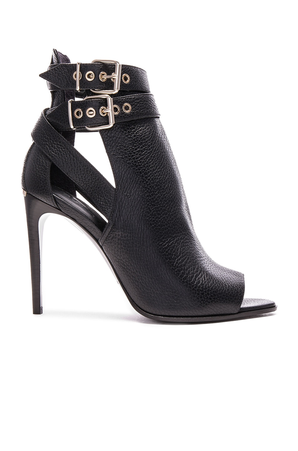 Image 1 of Burberry London Overfield Peep Toe leather Ankle Booties in Black