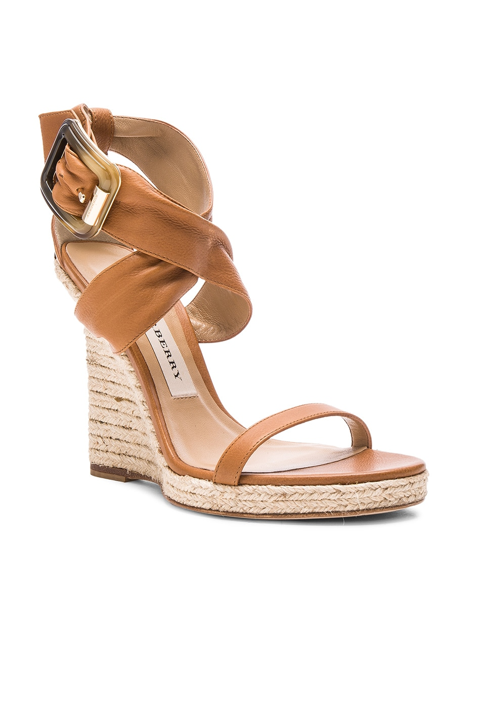 bb38ab60077 Burberry London Leather Catsbrook Espadrilles in Camel | FWRD
