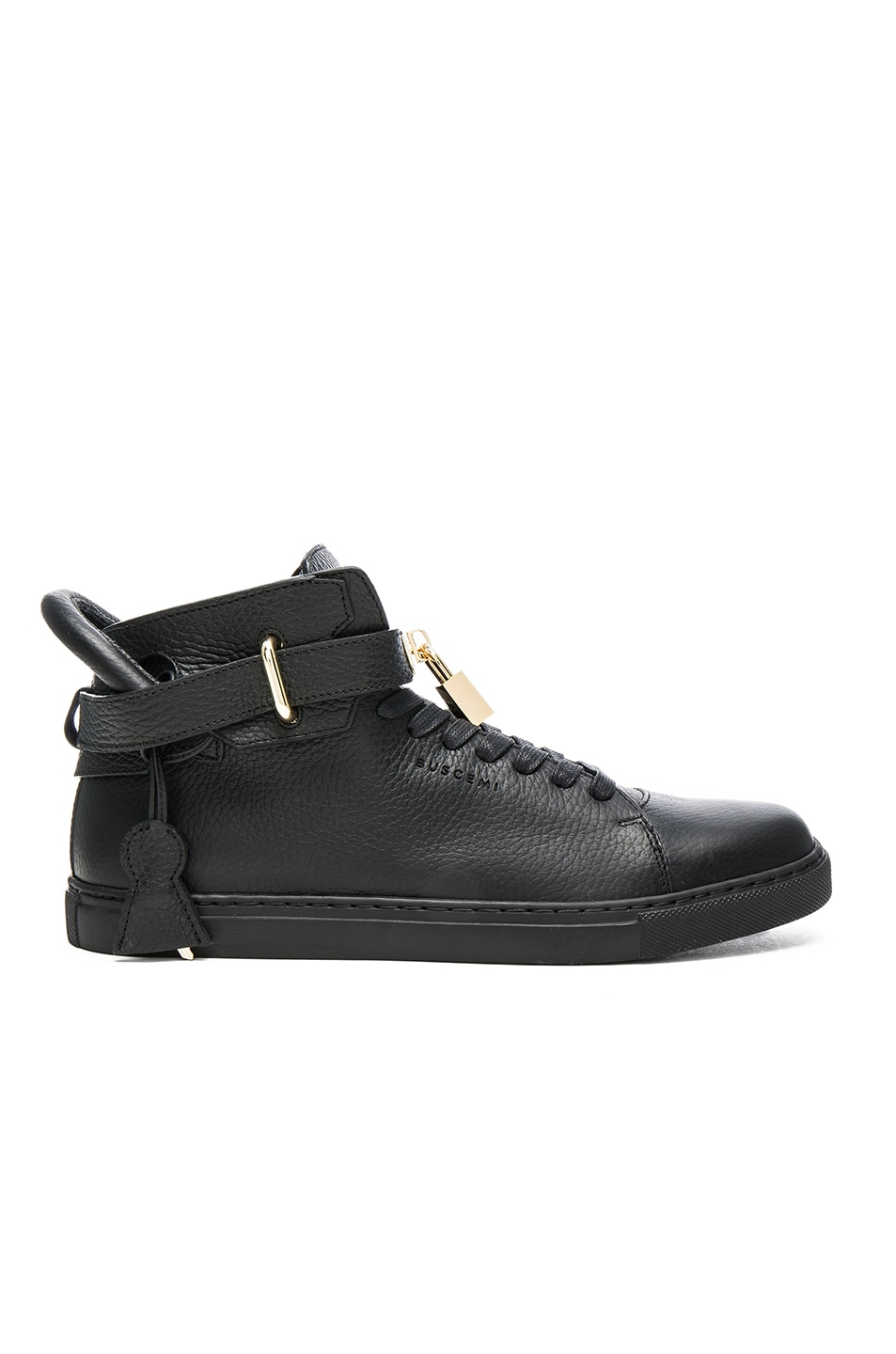 Buscemi 100MM High Top Pebbled Leather Sneakers Black chic
