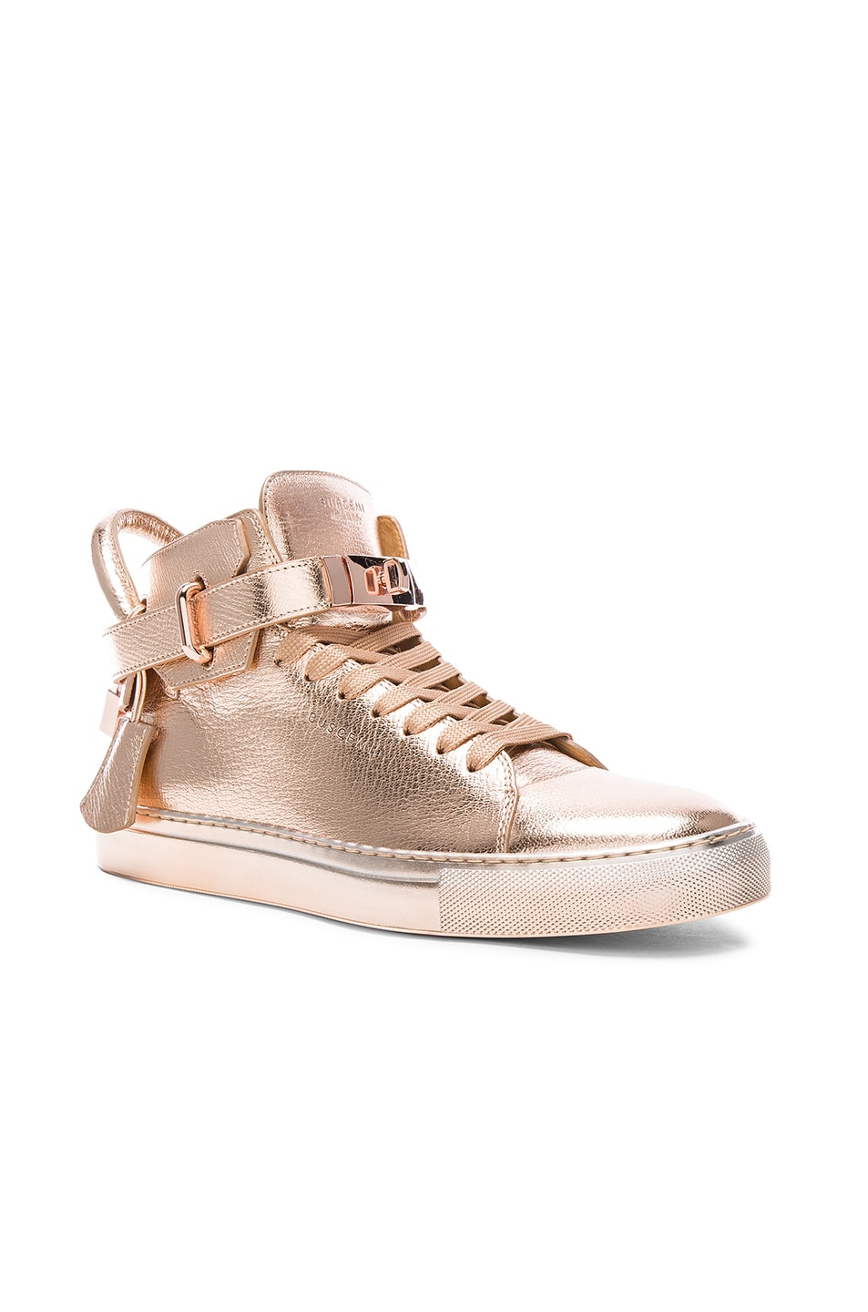 Image 1 of Buscemi 100MM Leather Sneakers in Rose Gold