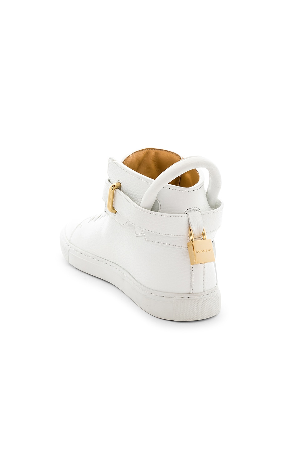 Image 3 of Buscemi 100MM High Top Pebbled Leather Sneakers in White