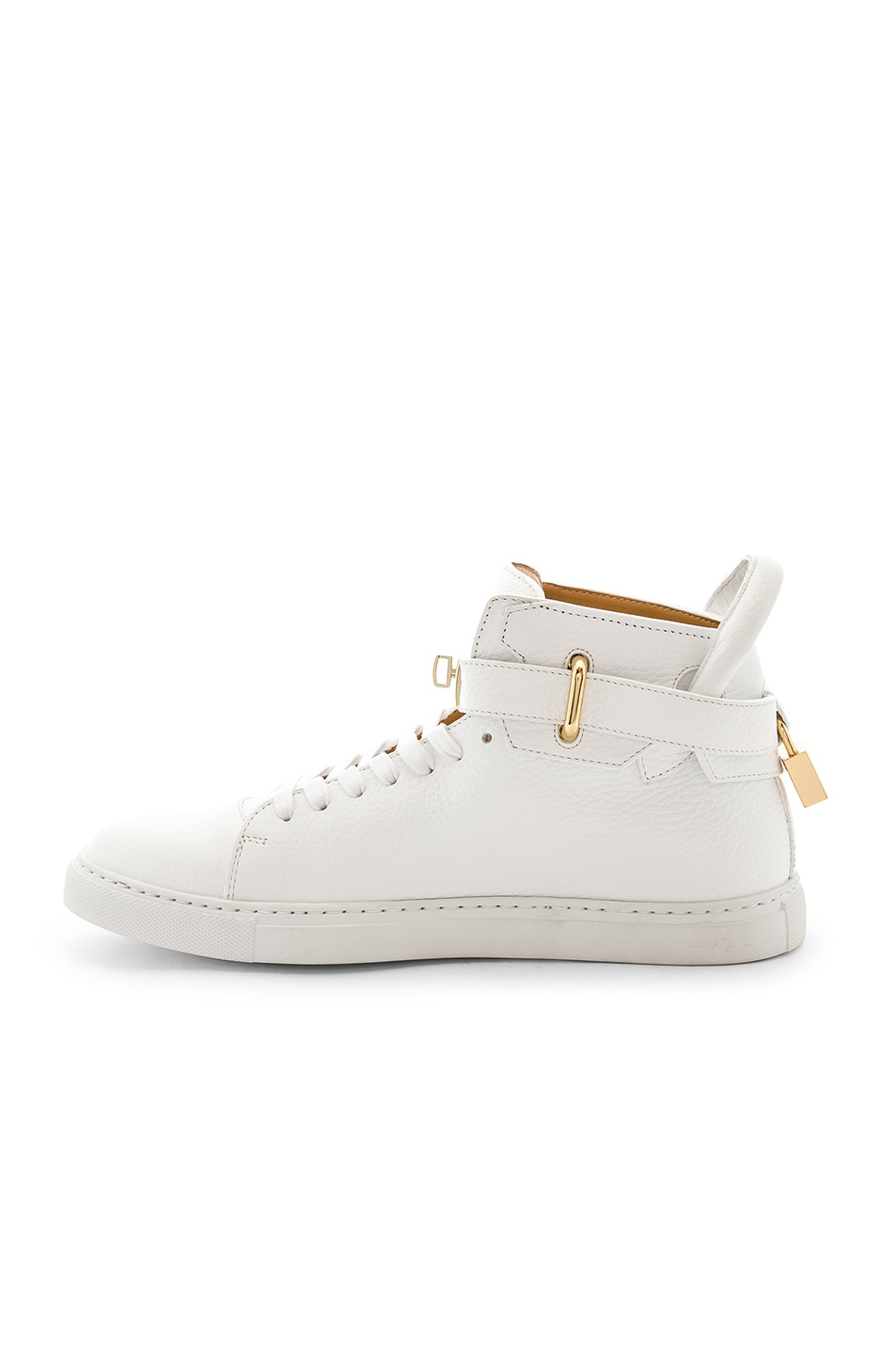 Image 5 of Buscemi 100MM High Top Pebbled Leather Sneakers in White