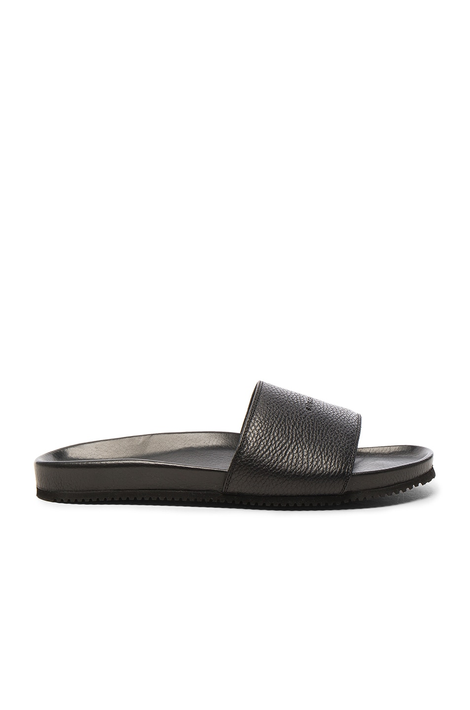 Image 2 of Buscemi Leather Classic Slide Sandals in Black