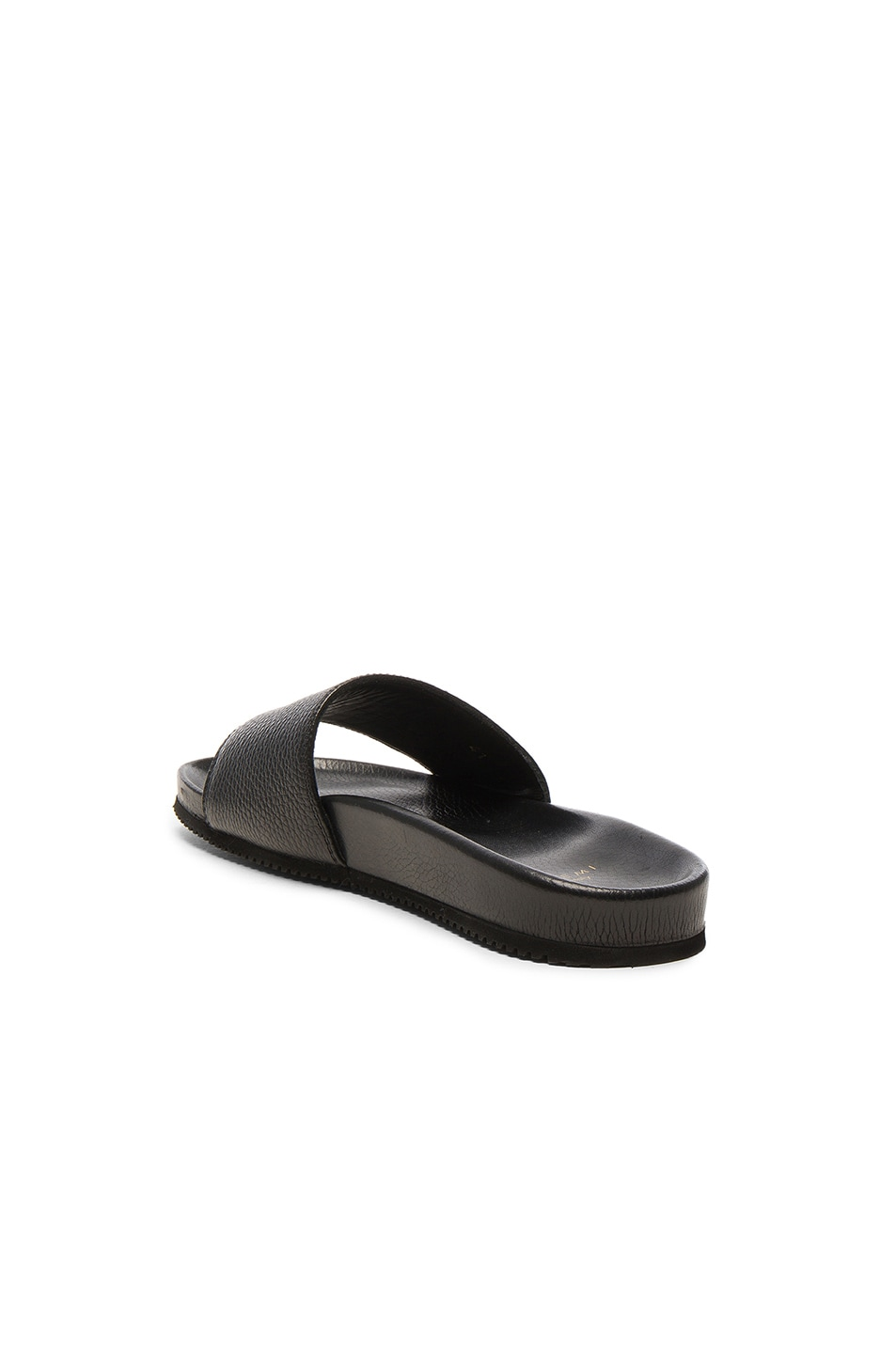 Image 3 of Buscemi Leather Classic Slide Sandals in Black