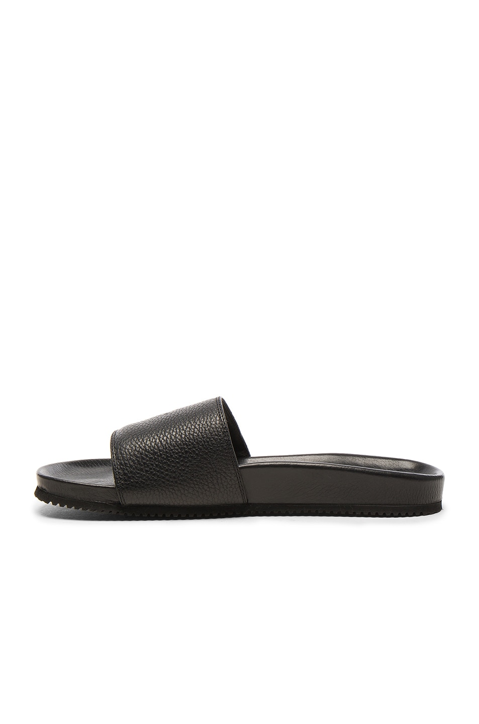 Image 4 of Buscemi Leather Classic Slide Sandals in Black