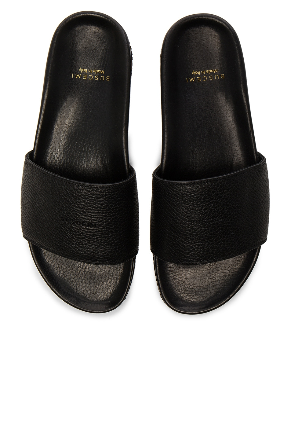 Image 5 of Buscemi Leather Classic Slide Sandals in Black