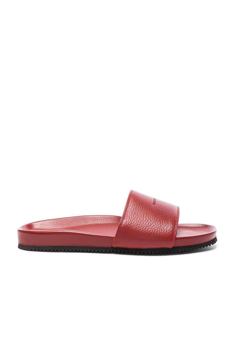 Image 2 of Buscemi Classic Leather Slide Sandals in Red
