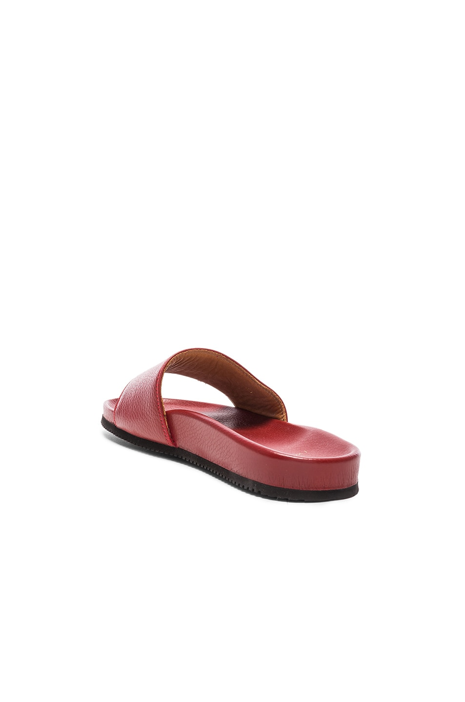 Image 3 of Buscemi Classic Leather Slide Sandals in Red
