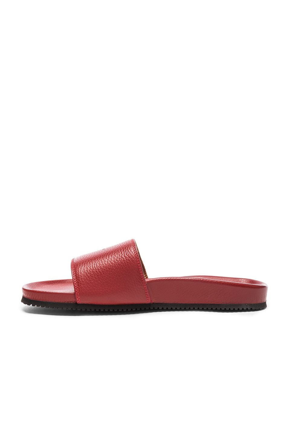 Image 4 of Buscemi Classic Leather Slide Sandals in Red