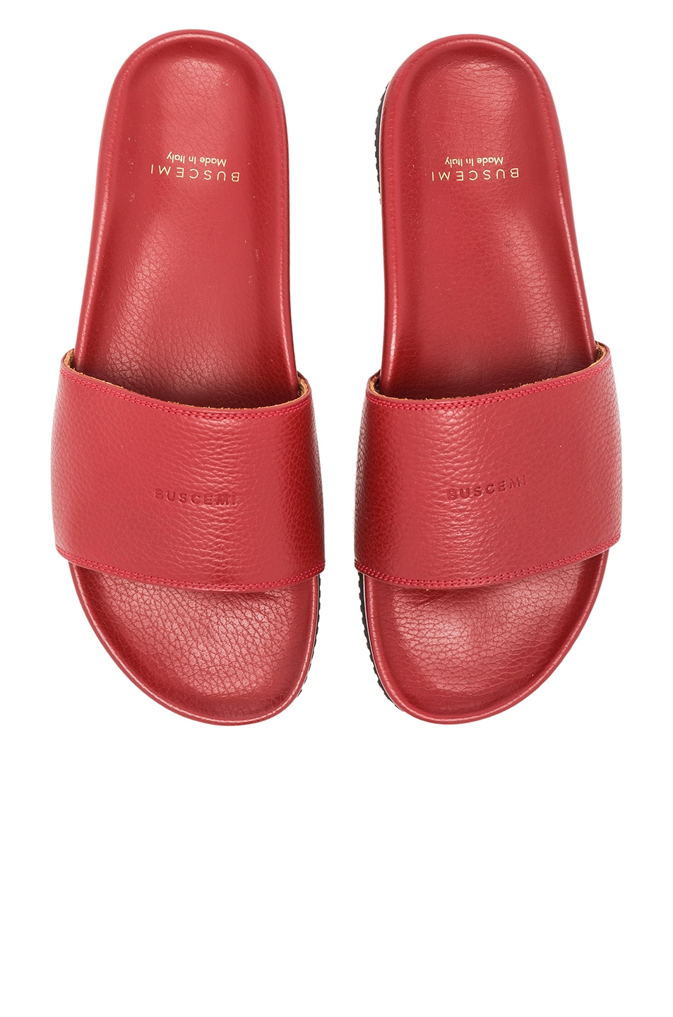 Image 5 of Buscemi Classic Leather Slide Sandals in Red