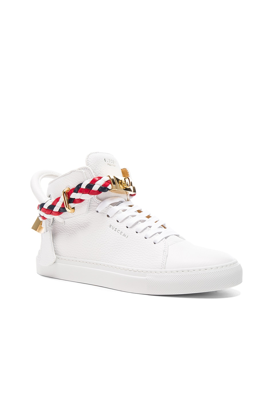 81227ade5b9659 Image 1 of Buscemi 100MM High Top Belt Weave Pebbled Leather Sneakers in  White   Multi