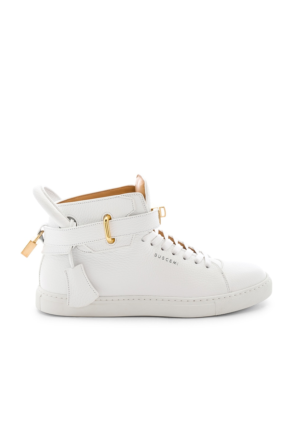 Image 2 of Buscemi 100MM High Top Pebbled Leather Sneakers in White