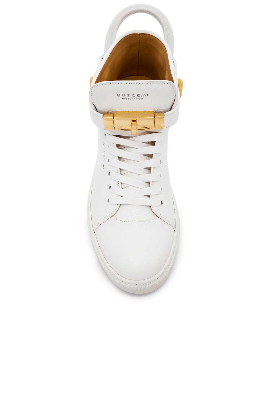 Image 4 of Buscemi 100MM High Top Pebbled Leather Sneakers in White