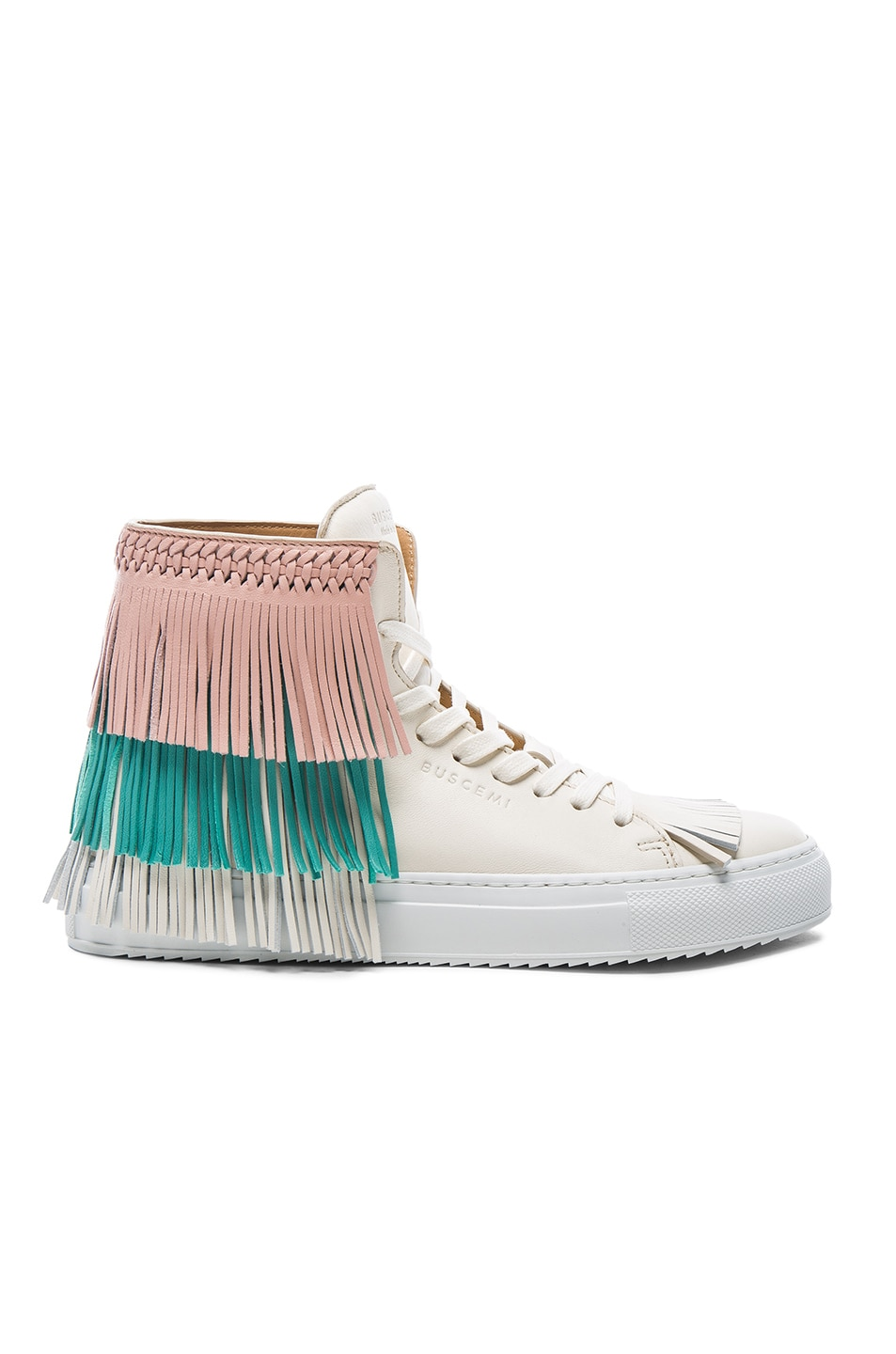 Image 1 of Buscemi 125MM Leather New Fringe Sneakers in Cream, Pink & Aqua Marine