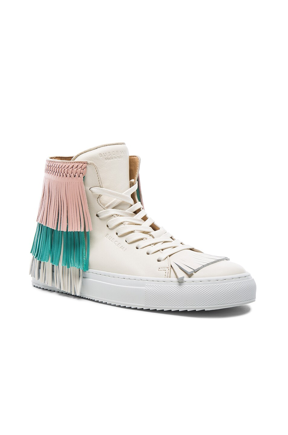 Image 2 of Buscemi 125MM Leather New Fringe Sneakers in Cream, Pink & Aqua Marine