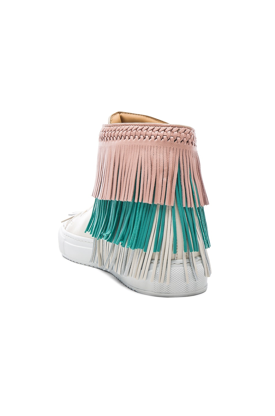 Image 3 of Buscemi 125MM Leather New Fringe Sneakers in Cream, Pink & Aqua Marine