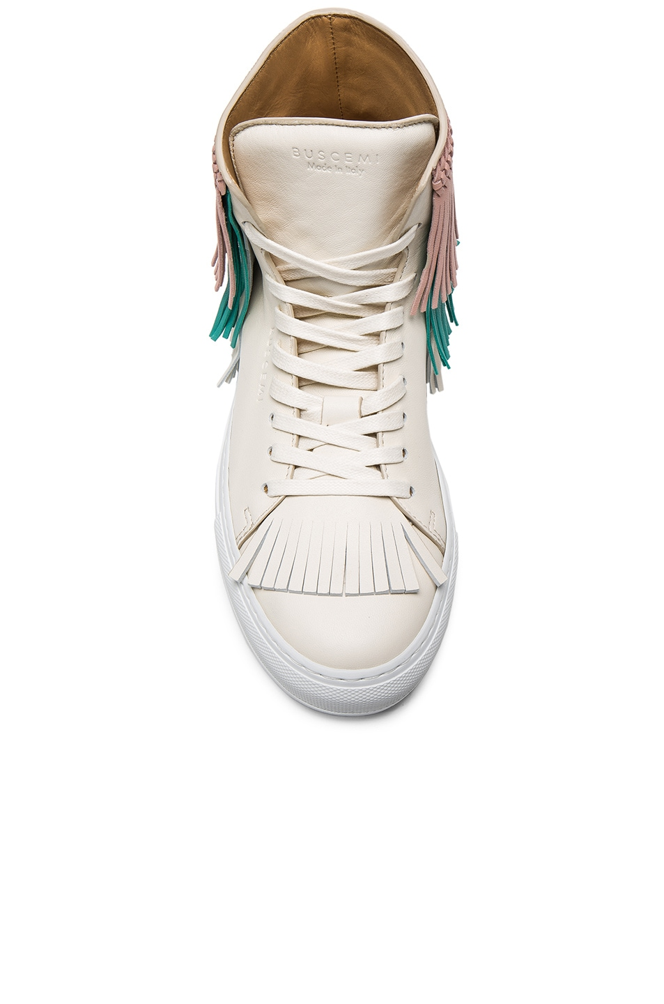 Image 4 of Buscemi 125MM Leather New Fringe Sneakers in Cream, Pink & Aqua Marine