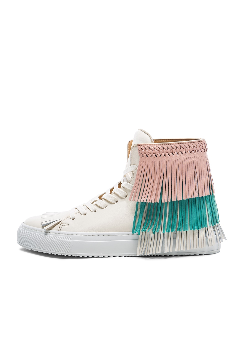 Image 5 of Buscemi 125MM Leather New Fringe Sneakers in Cream, Pink & Aqua Marine