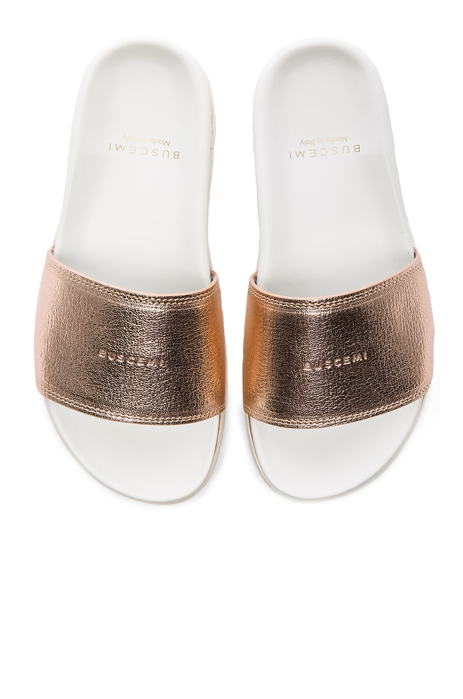 Image 1 of Buscemi Leather Slide Sandals in Rose Gold