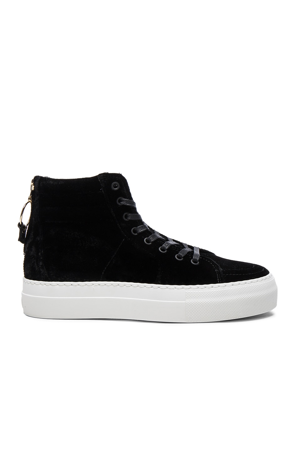 Image 1 of Buscemi 140MM Velour Sneakers in Black & White