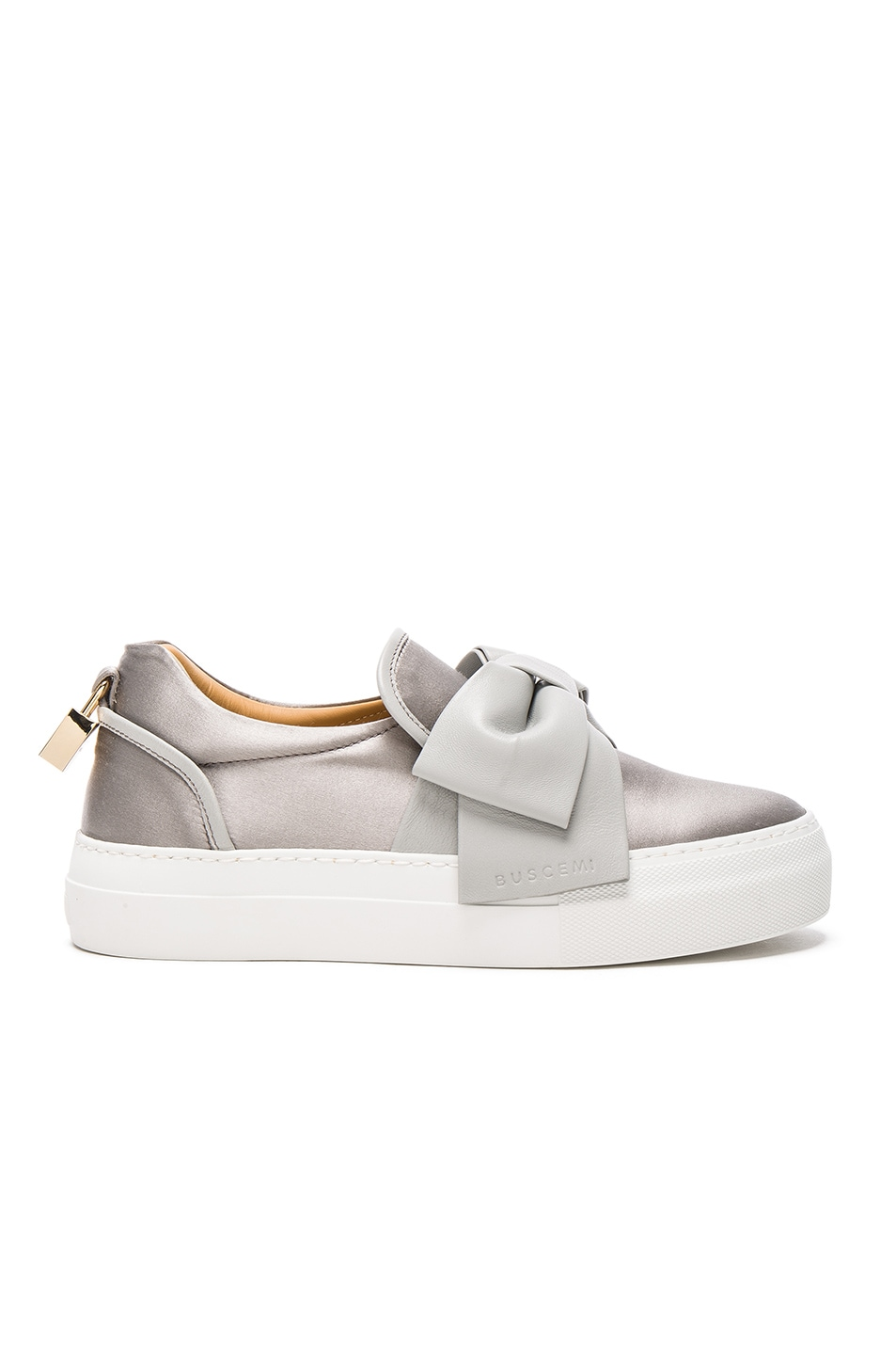 Image 1 of Buscemi 40MM Bow Satin Sneakers in Grey