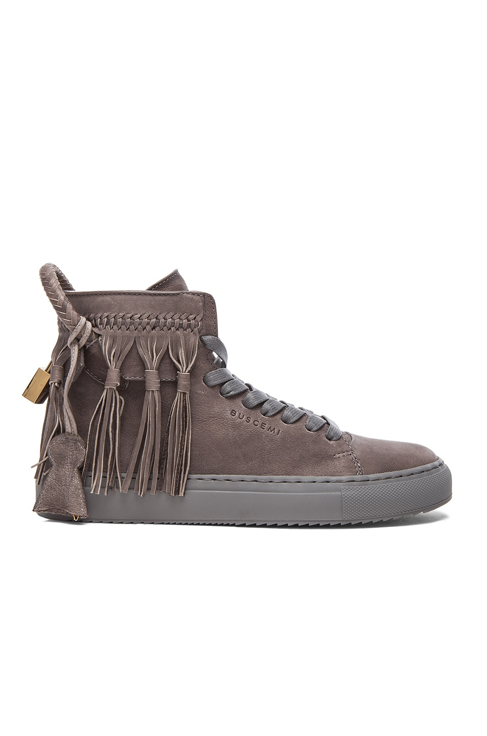 Image 1 of Buscemi 125MM Leather Fringe in Charcoal