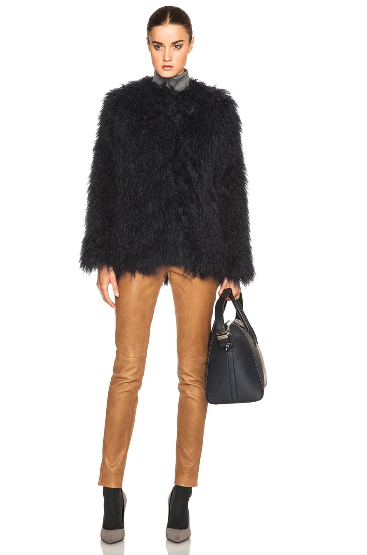 Image 6 of By Malene Birger Kancas Faux Fur Coat in Dark Jeans Blue