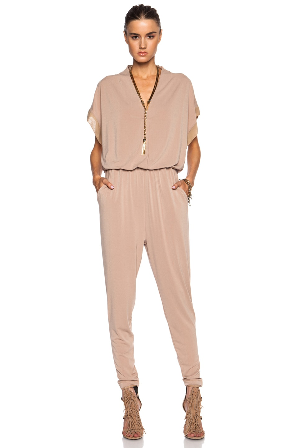Image 1 of By Malene Birger Isina Poly-Blend Jumpsuit in Cafe Latte