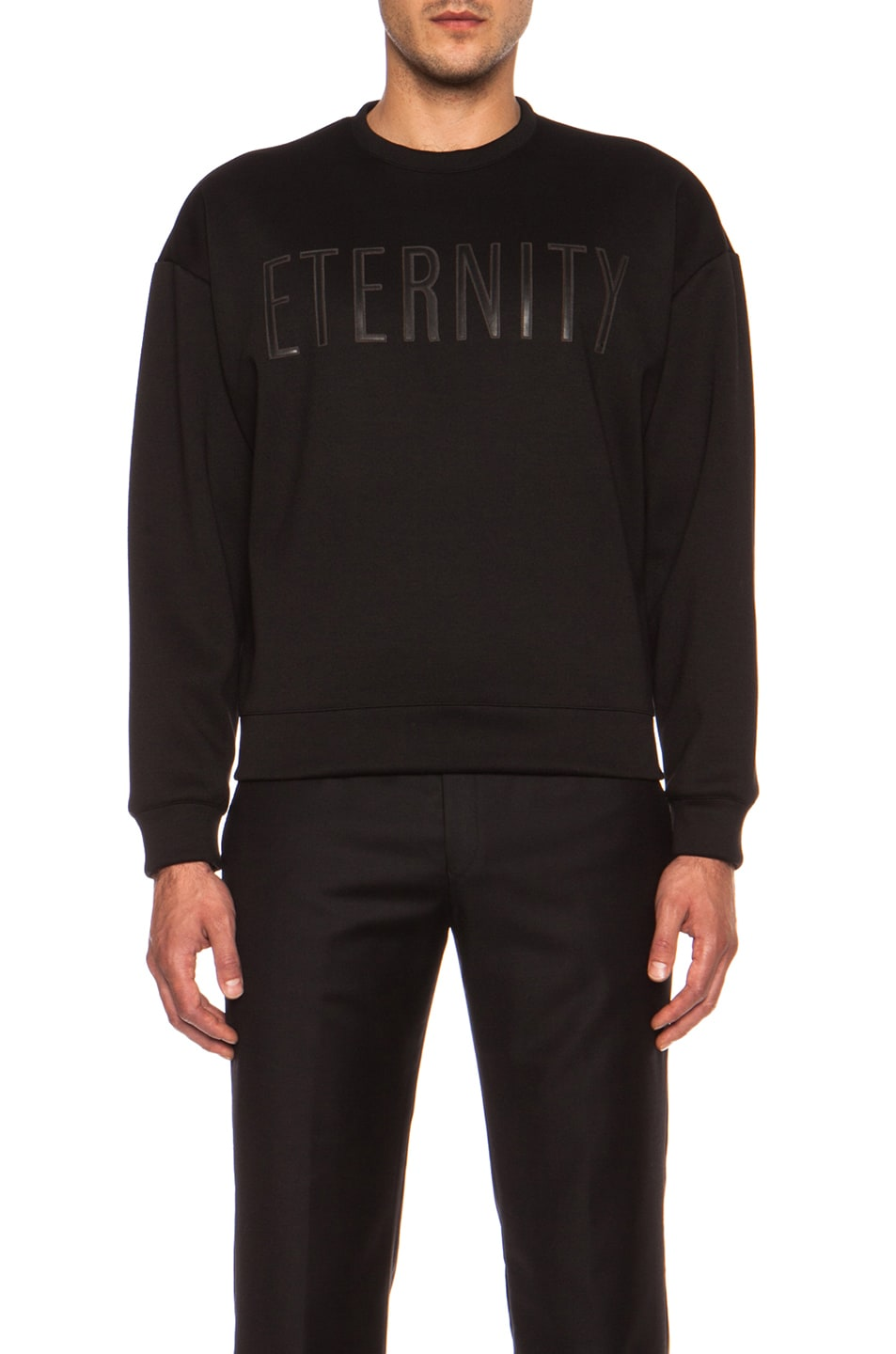 Image 1 of Calvin Klein Collection Eternity Poly-Blend Sweatshirt in Black