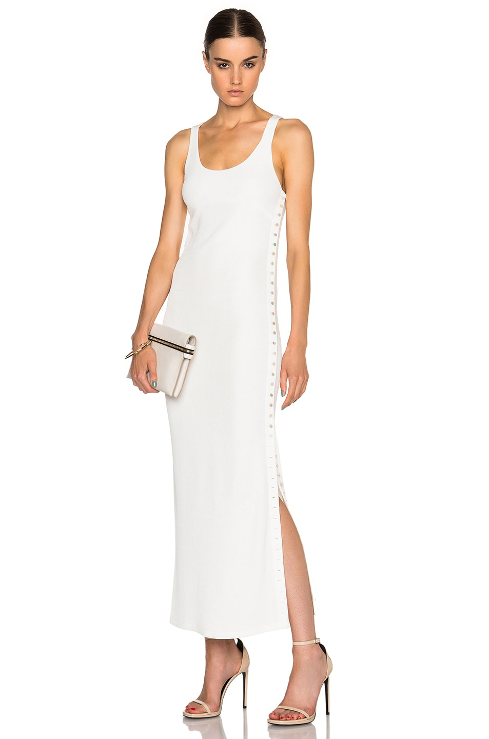 Image 1 of Calvin Klein Collection Fiana Structured Jersey Maxi Dress in White