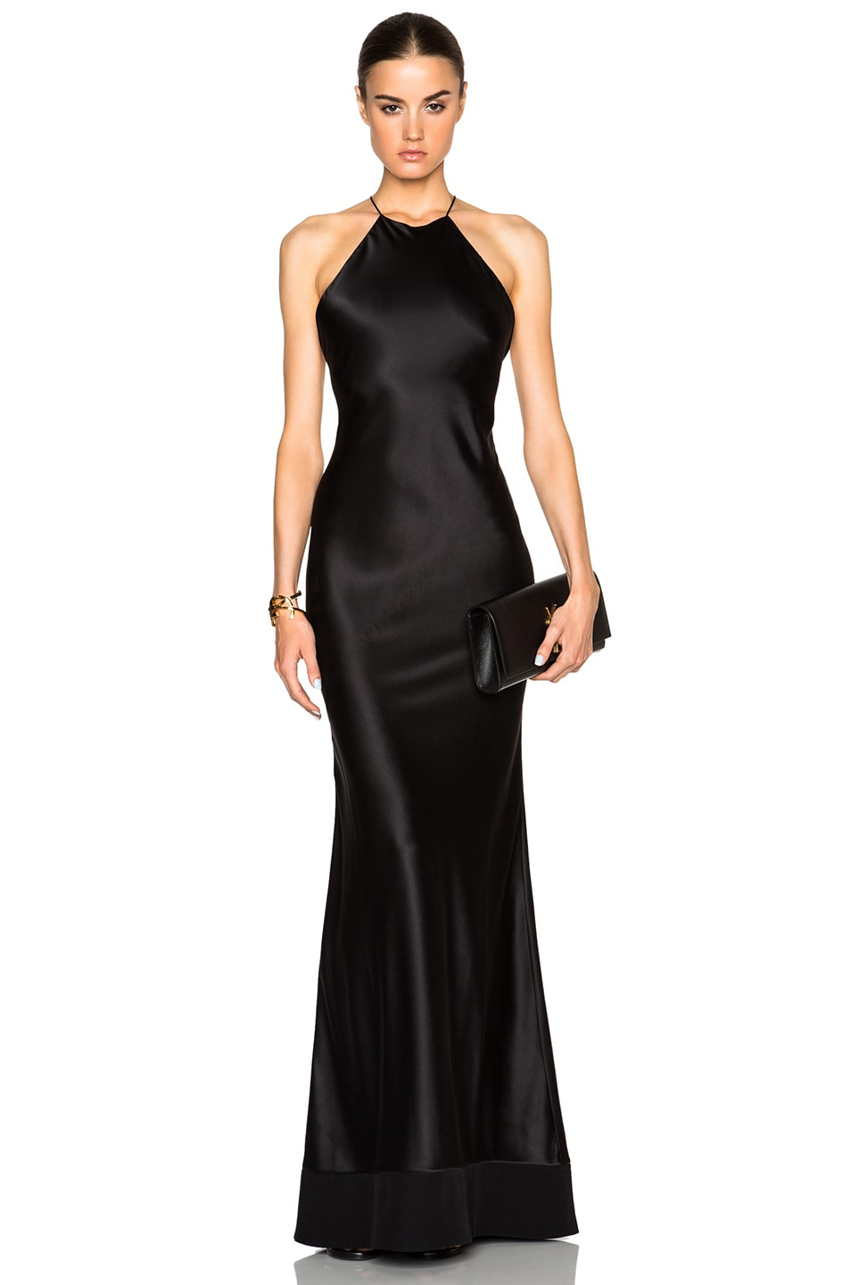 Calvin Klein Collection Fawn Satin Silk Charmeuse Gown in Black | FWRD