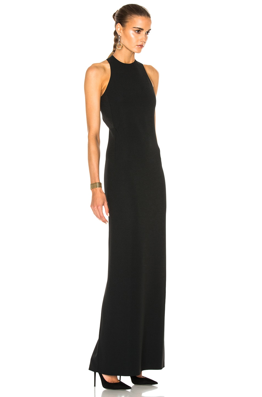 Calvin Klein Collection Kaye Long Cross Back Evening Dress In Black