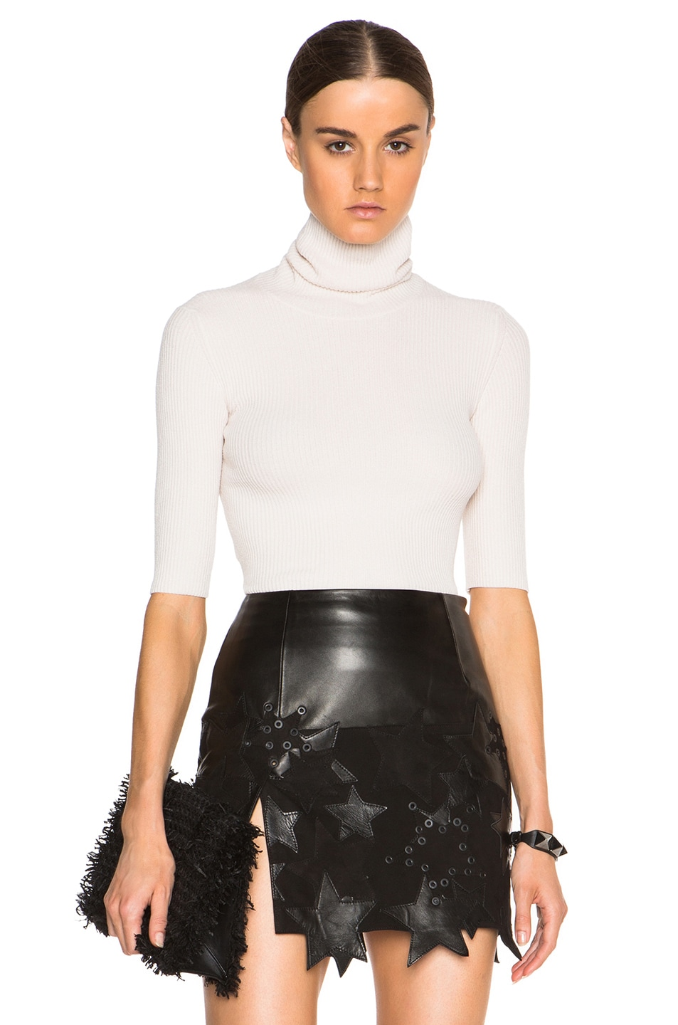 Image 1 of Calvin Klein Collection Tai Fitted Chenille Turtleneck in Ecru