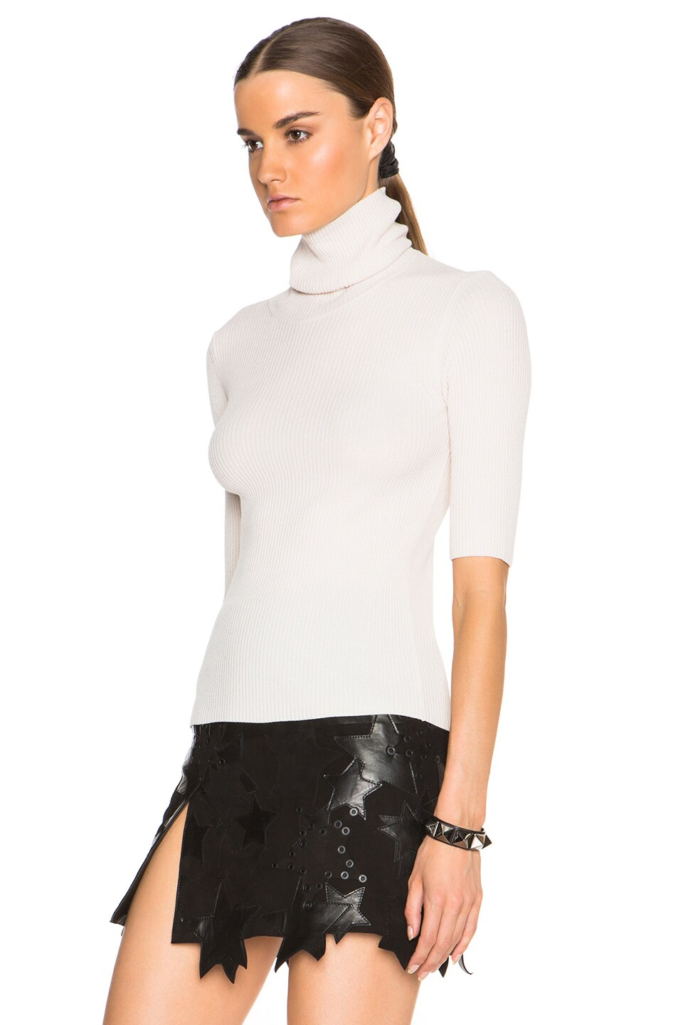 Image 2 of Calvin Klein Collection Tai Fitted Chenille Turtleneck in Ecru