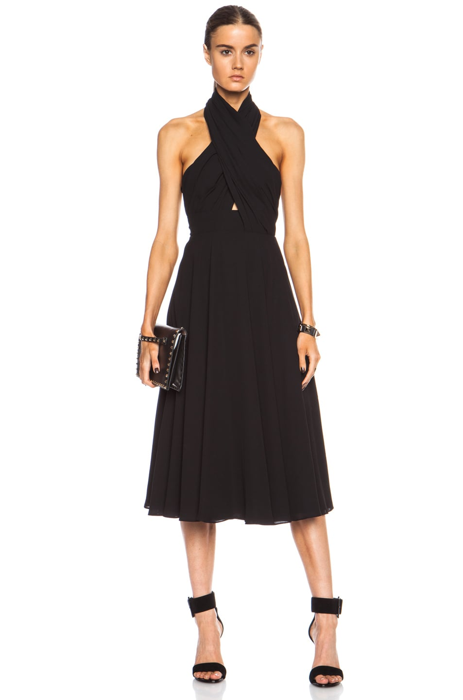 Image 1 of camilla and marc Golden Myna Poly Dress in Black