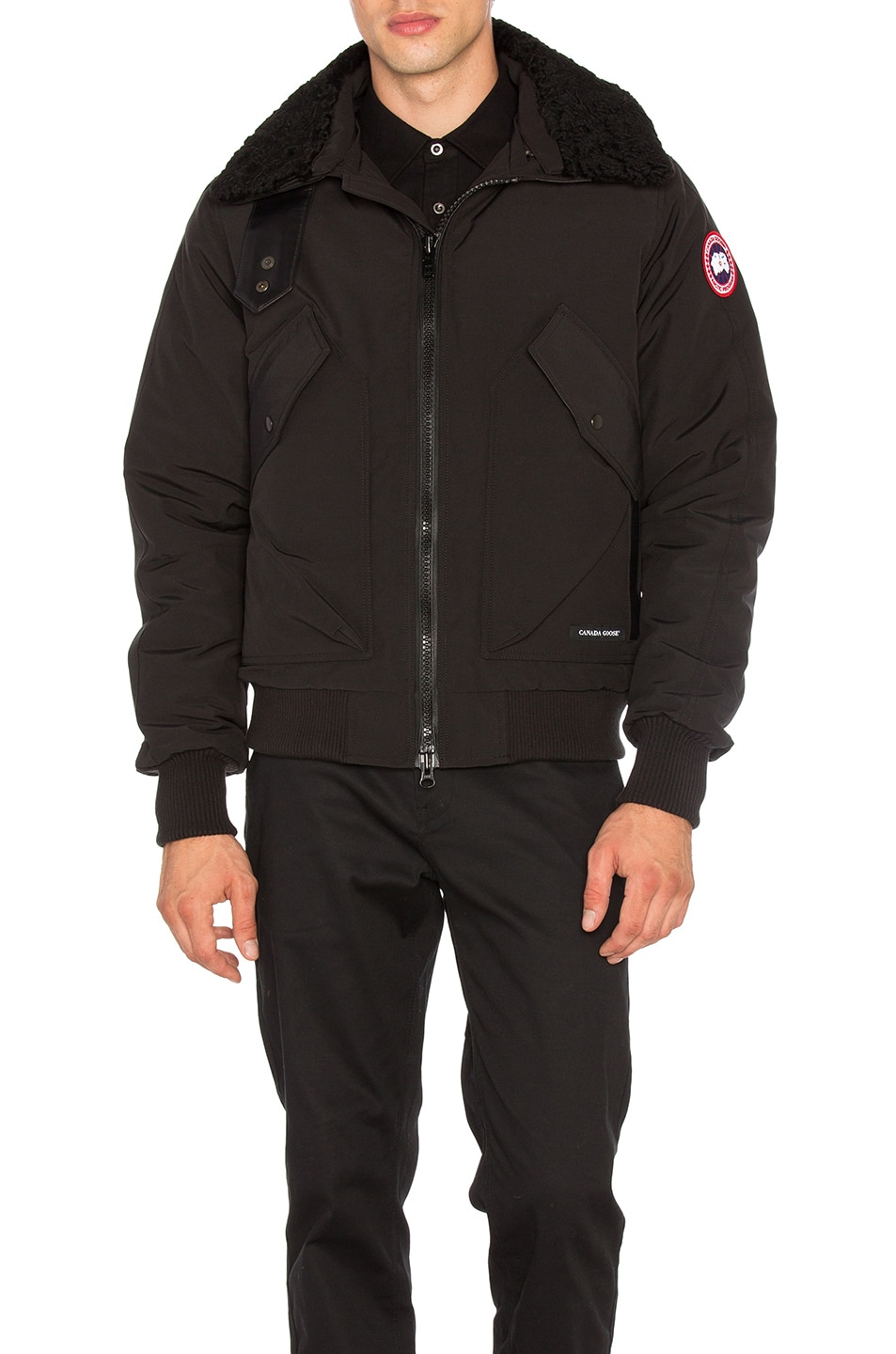 Image 1 of Canada Goose Bromley Dyed Sheep Fur Collar Bomber in Black