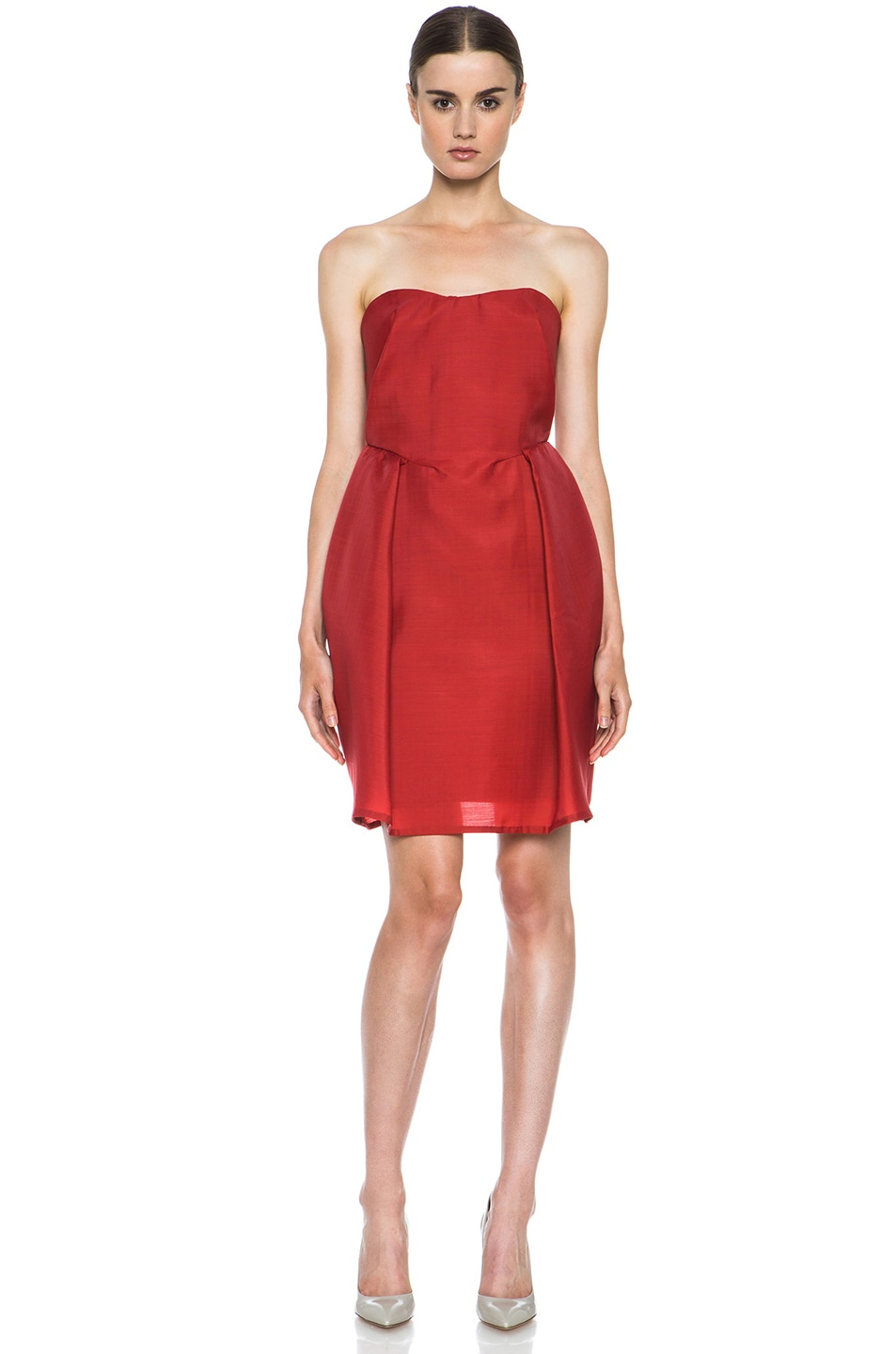 Image 1 of Carven Wool Gazar Sweetheart Dress in Strawberry