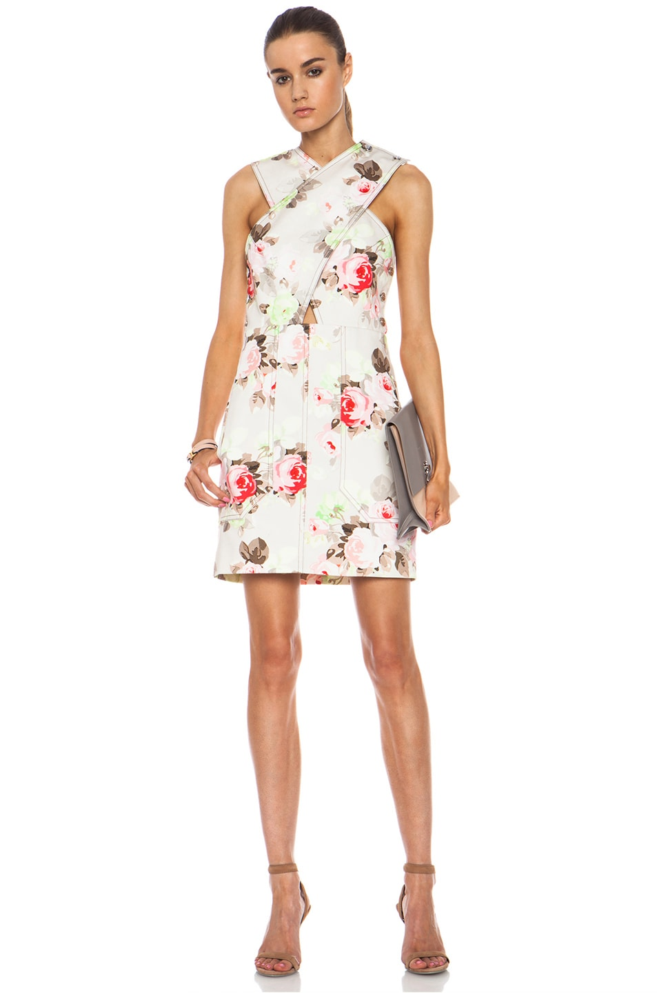 Image 1 of Carven Floral Criss Cross Dress in Sand