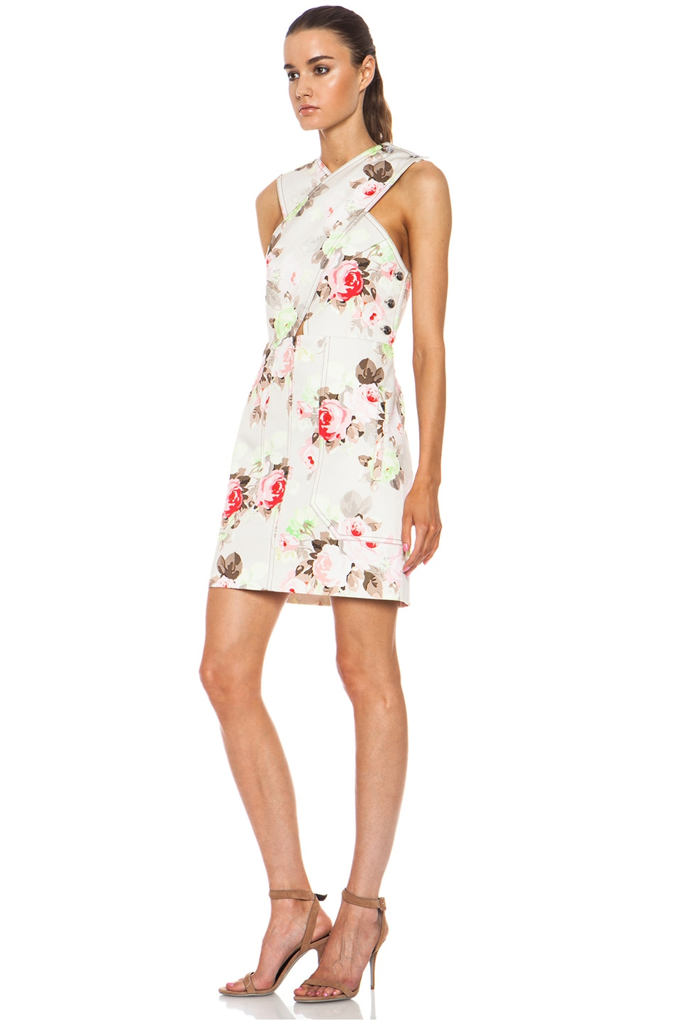 Image 2 of Carven Floral Criss Cross Dress in Sand