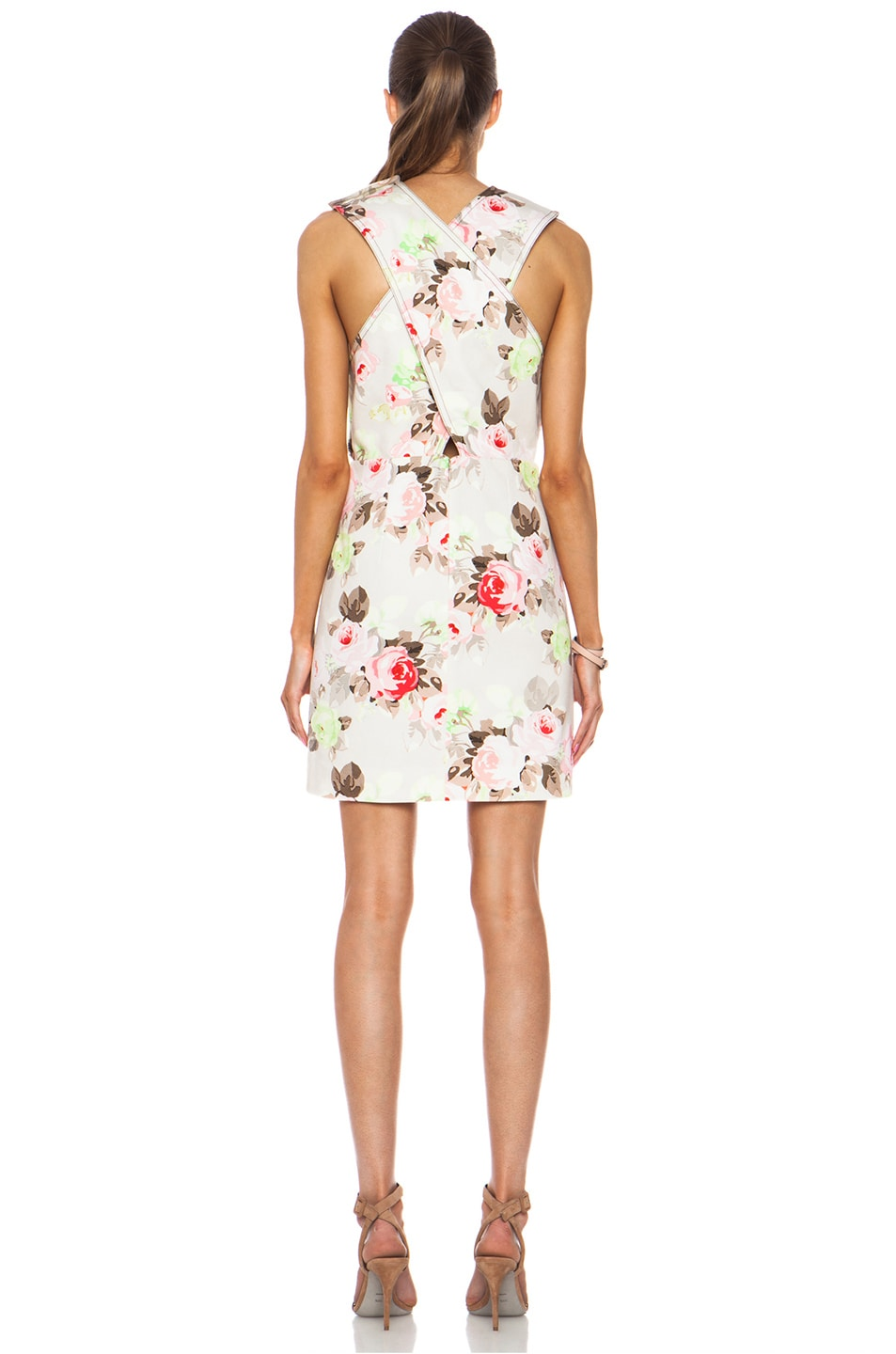 Image 4 of Carven Floral Criss Cross Dress in Sand