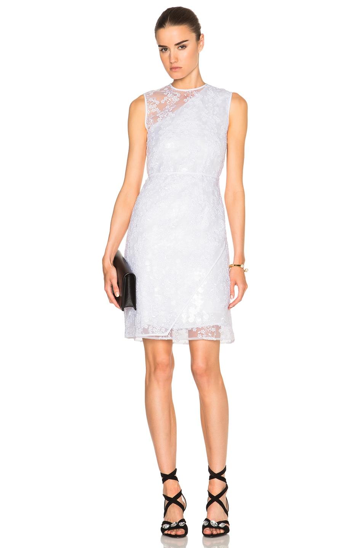 Carven asymmetrical organza dress in blanc fwrd - Voilage organza blanc ...