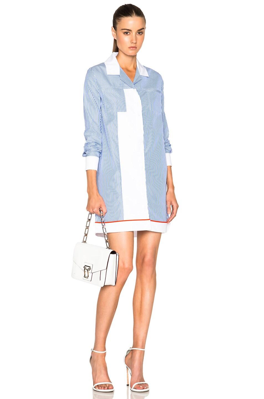 Image 1 Of Carven Striped Poplin Dress In White Blue