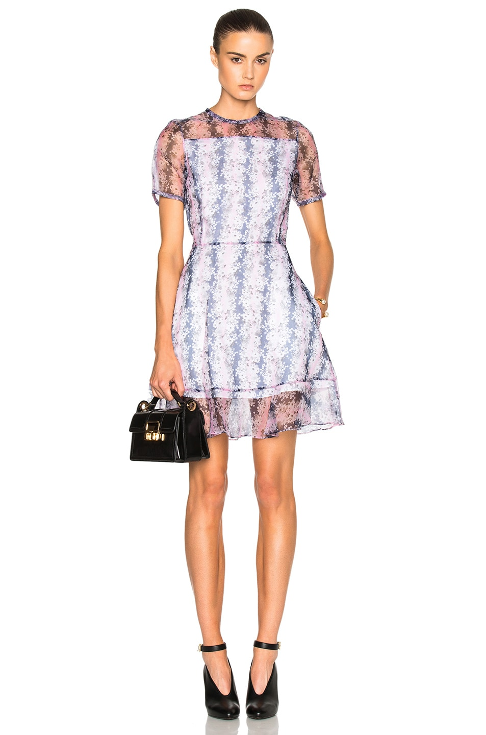 Carven Organza Floral Mini Dress in Rose | FWRD