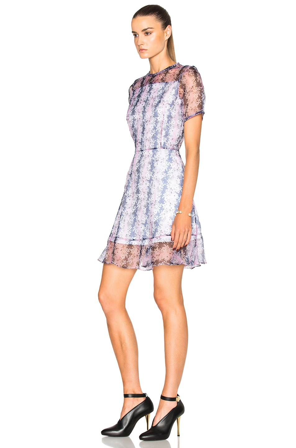 Image 2 of Carven Organza Floral Mini Dress in Rose