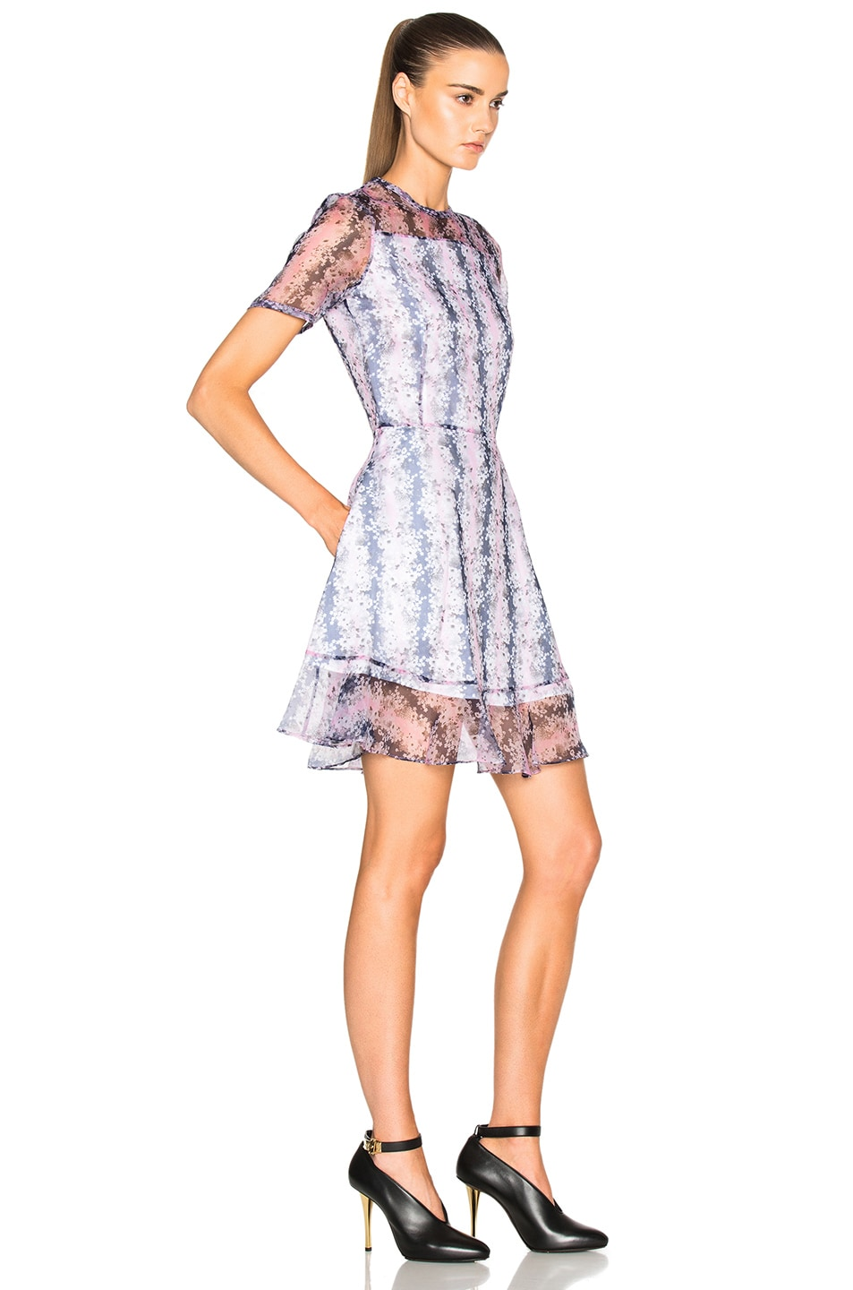 Image 3 of Carven Organza Floral Mini Dress in Rose