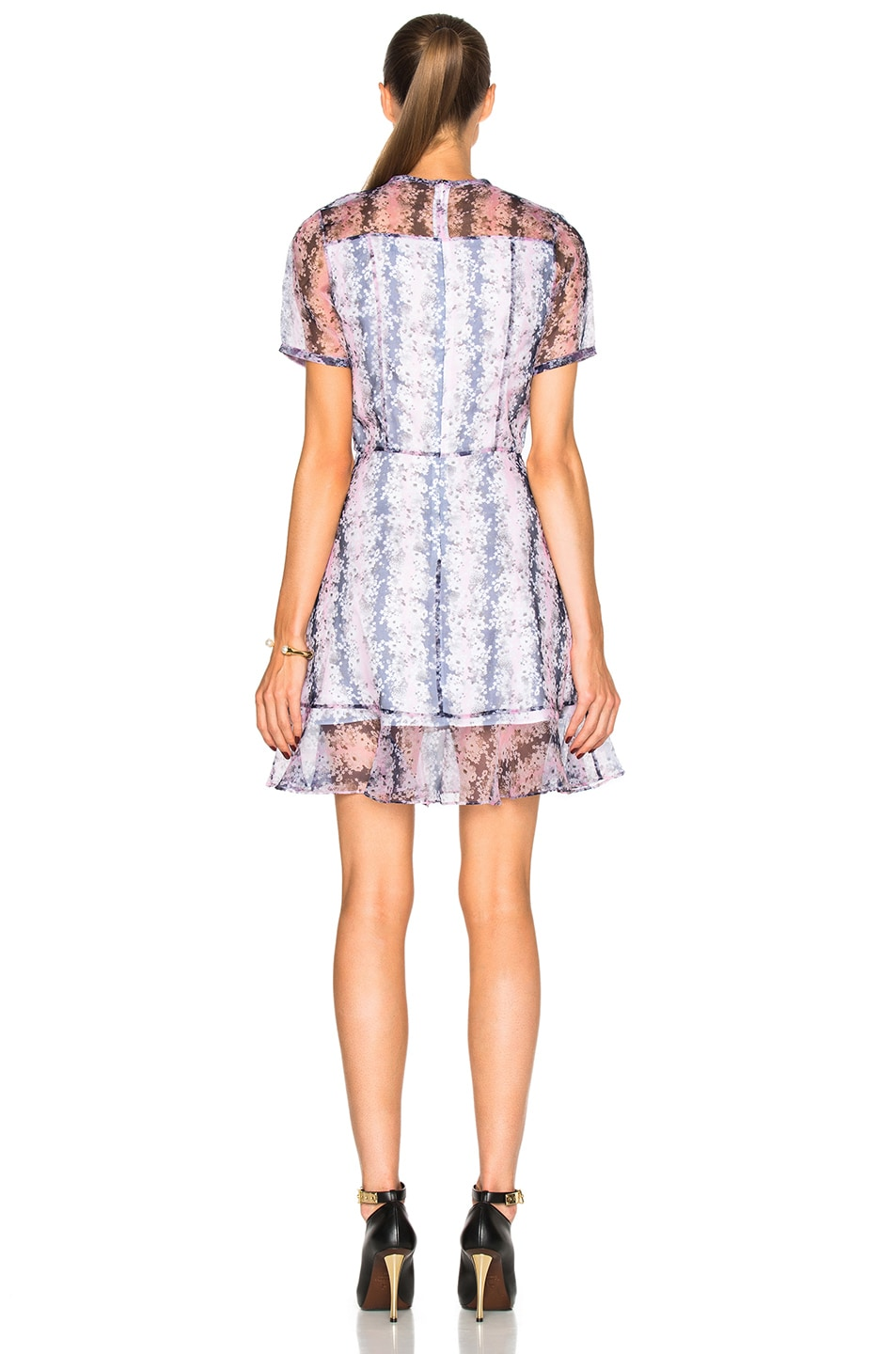 Image 4 of Carven Organza Floral Mini Dress in Rose