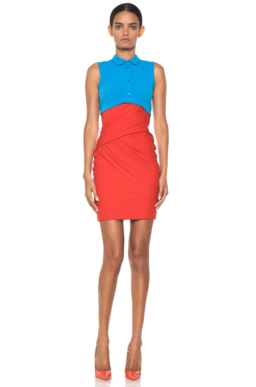 Image 1 of Carven Polo Viscose Mini Dress in Vermillon & Turquoise